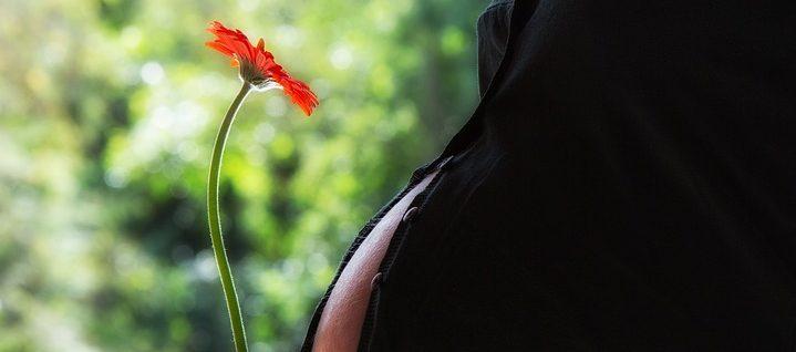 Kobieta ciężarna z kwiatem w dloni /Ilustracja do tekstu: Jak naturalnie zajść w ciążę