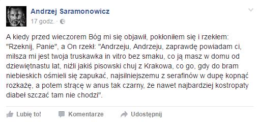 fot. screen z FB Andrzeja Saramonowicza
