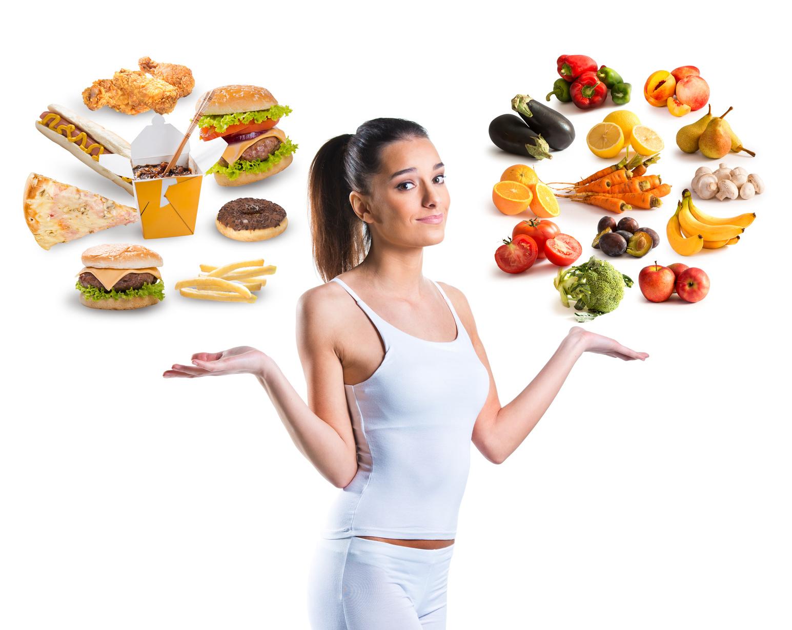 Produkty spożywcze: dieta wegetariańska i fast food