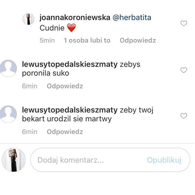 Obrzydliwy atak na Joannę Koroniewską