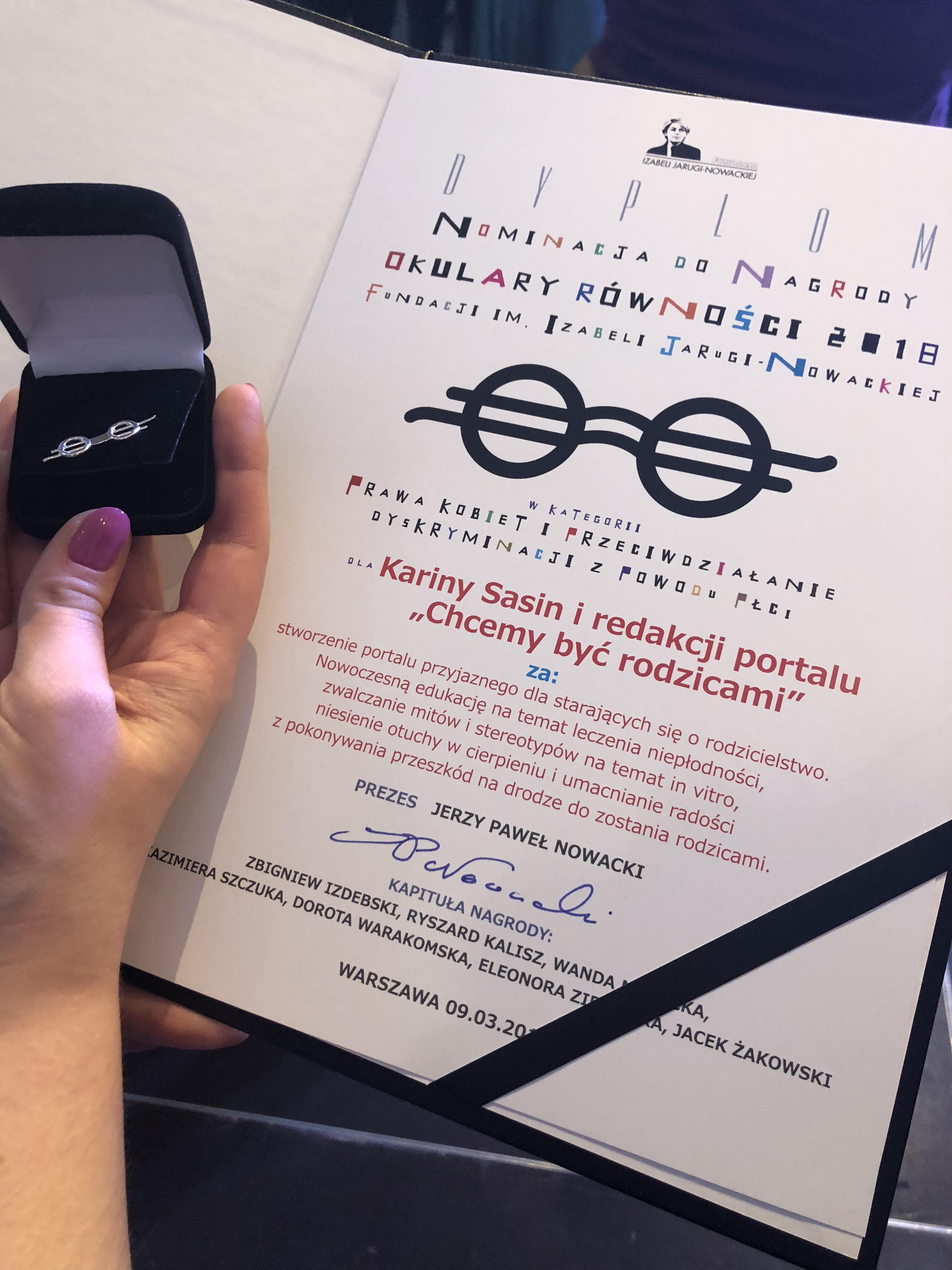 Nominacja do Okularów Równości dla Chcemy Być Rodzicami