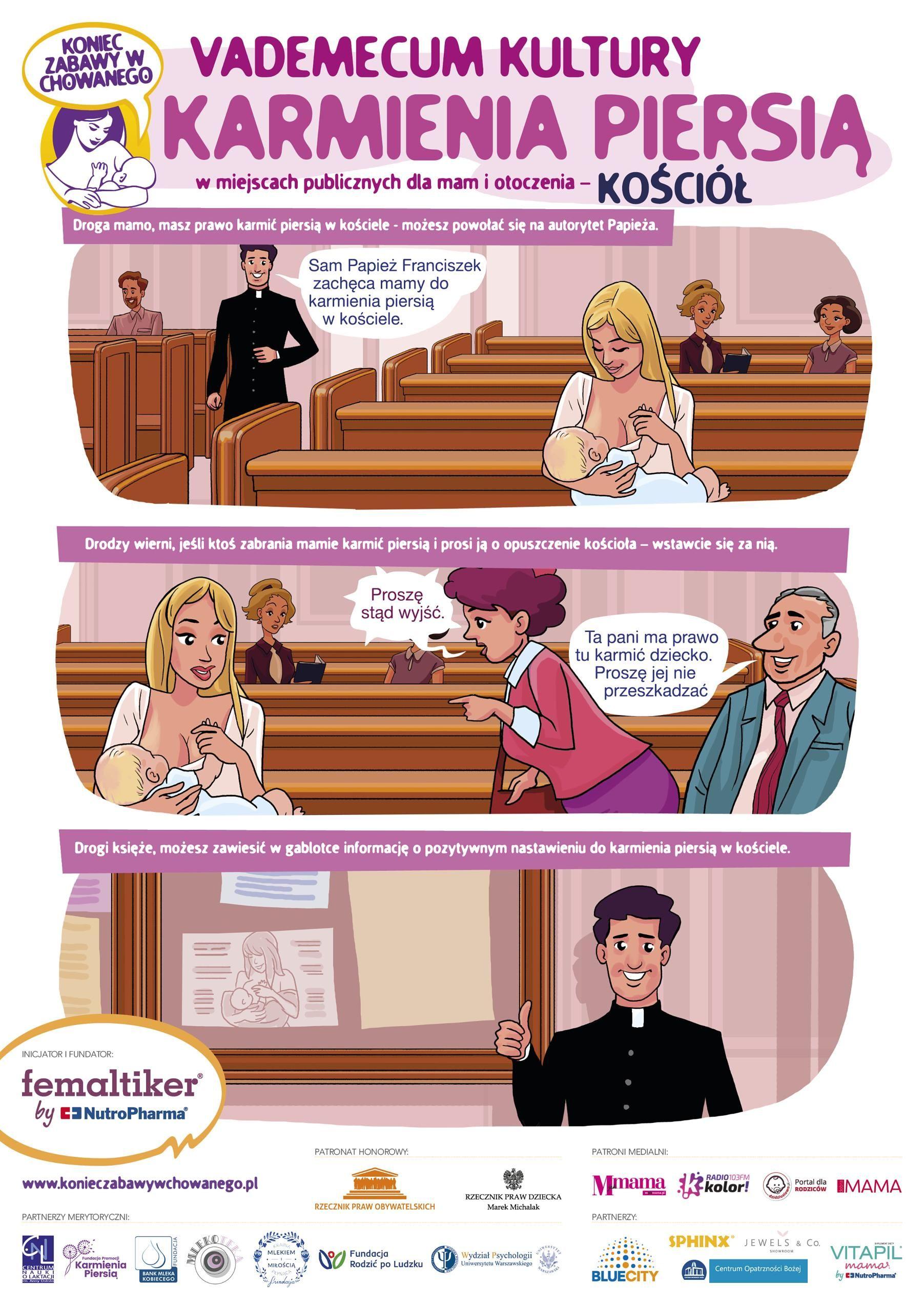 Infografika promująca karmienie piersią w miejscach publicznych. Na ilustracji: kobieta karmiąca dziecko w kościele jest atakowana przez inna uczestniczkę mszy. Jej prawa do karmienia piersią broni mężczyzna siedzący obok
