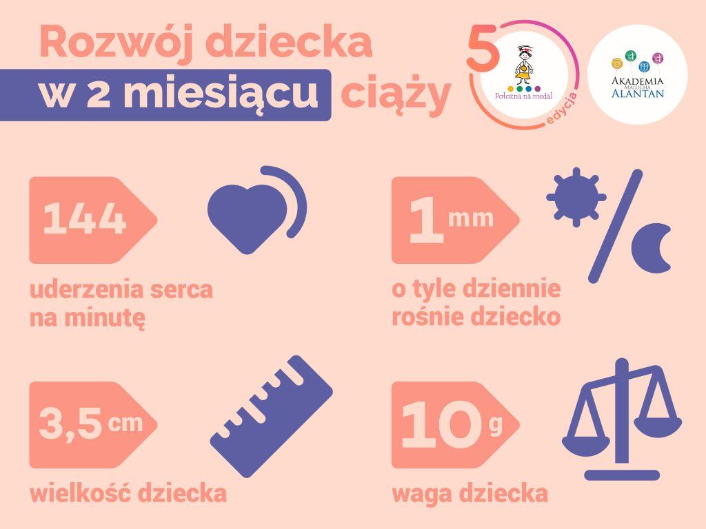 """Różowa infografika,z nagłówkiem: Rozwój dziecka w drugim miesiącu ciąży. Na granatowych piktogramach widnieją informacje: 144 - uderzenia serca na minutę, 1 mm - o tyle dziennie rośnie dziecko, 3,5 cm - długość dziecka, 10 g - waga dziecka. U góry widoczne logo Akademii Alantan i kampanii """"Położna na medal"""""""