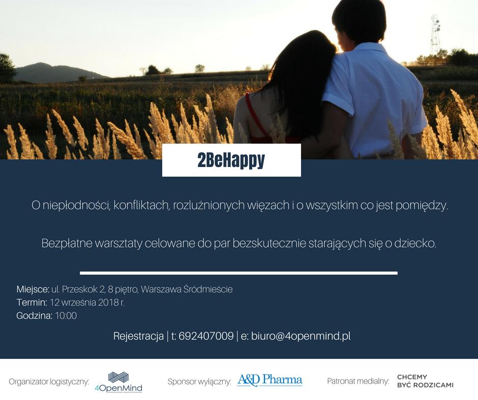 """Warsztaty dla niepłodnych par """"2 Be Happy"""" - baner informujący o spotkaniu 12 września w Warszawie; w tle zdjęcie szczęśliwej pary"""