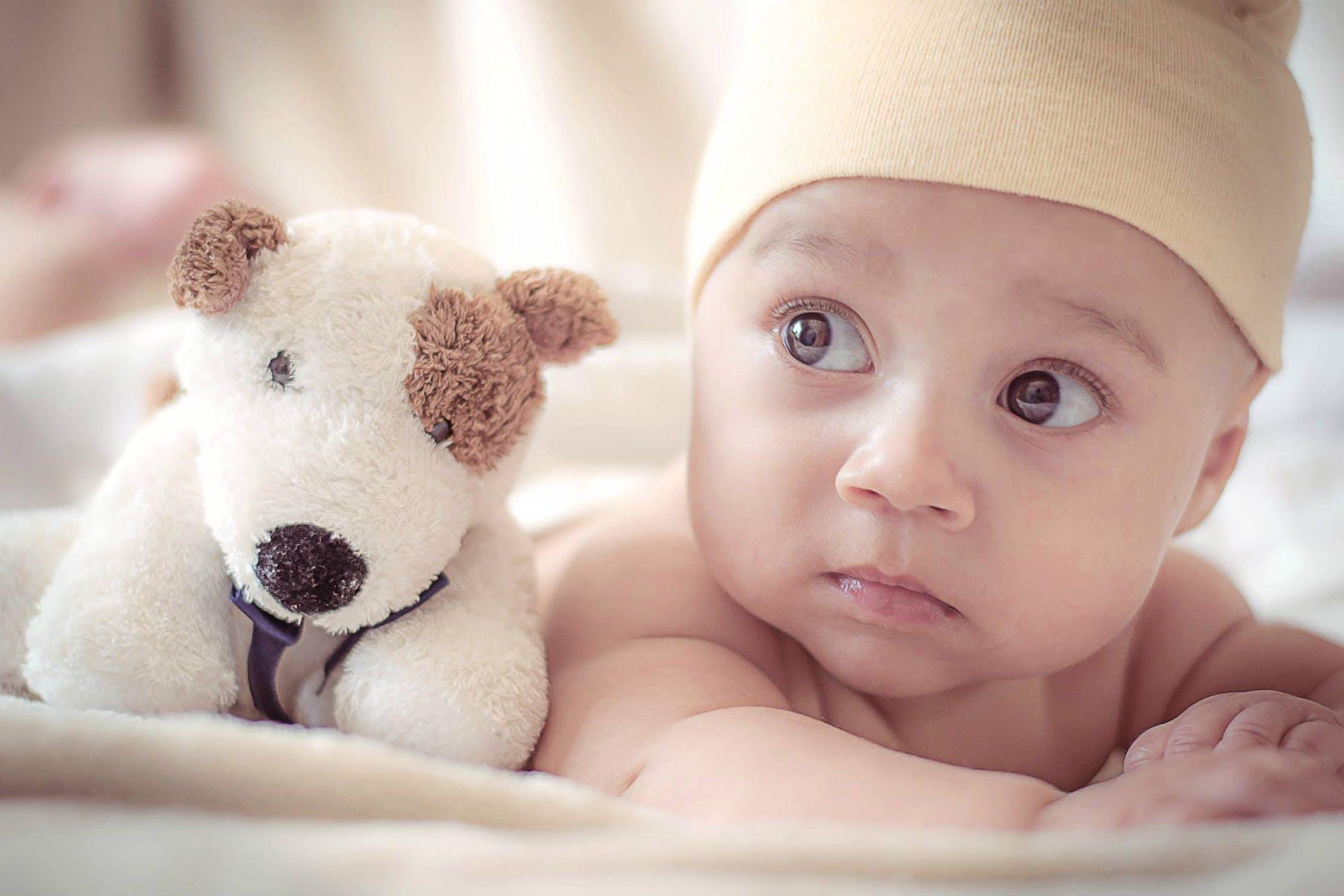 Noworodek na kocu w towarzystwie maskotki /Ilustracja do tekstu: Ryzyko przedwczesnego porodu i rozwój wcześniaka. Wszystko, co musisz wiedzieć