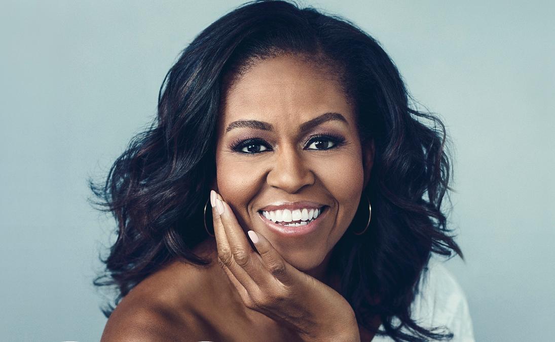 "Michelle Obama - zdjecie z okładki książki ""Becoming"". Ilustracja do tekstu: Michelle Obama o poronieniu i in vitro"