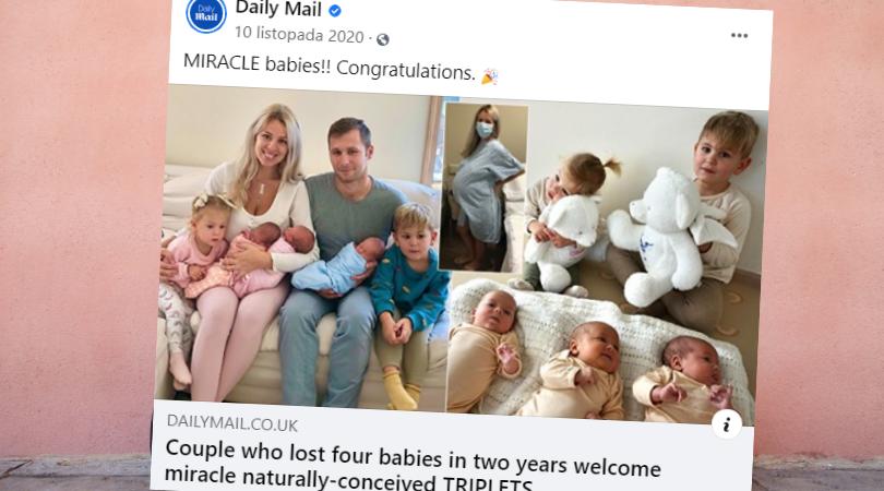 urodziła trojaczki dwa razy